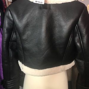 16189c73f Boohoo Cropped borg trimmed leather jacket NWT